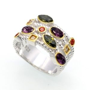 Jewelry - 925 Silver Women's Ring Austrian Crystals Colorful